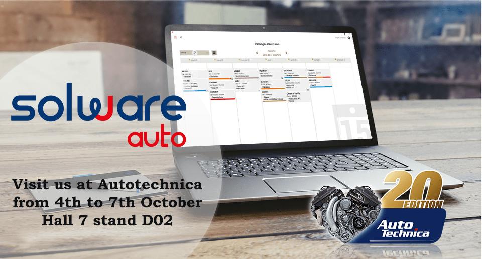 Solware auto au salon Autotechnica à Bruxelles en Belgique. Le plus grand salon professionnel du Benelux pour faire découvrir notre logiciel DMS de gestion et facturation pour les garages automobiles